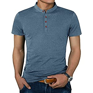 IWOLLENCE Men's Casual Slim Fit Short Sleeve Henley T-Shirts Cotton Shirts