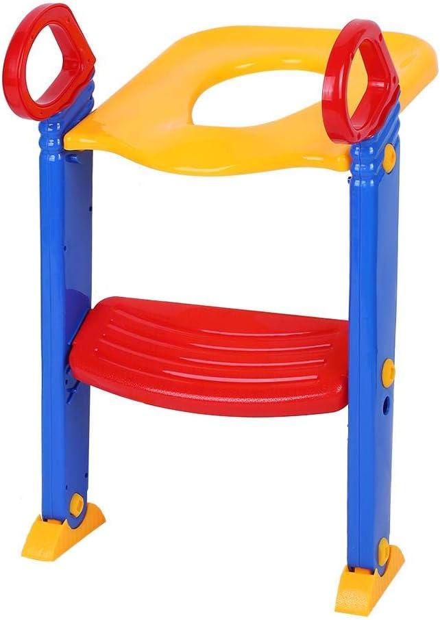 Asiento para inodoro Port/átil para beb/és con escalera WC aseo entrenador seguridad para ni/ños ergon/ómico antideslizante ajustable blu bianco Asiento orinal Reductor inodoro para ni/ños