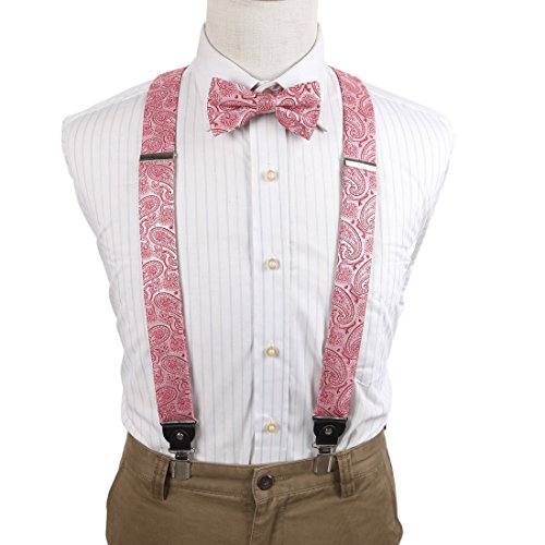 EFCB0016 Pink Red Patterned Extendable Microfiber Y-Back Suspender With Match Mens Bowties Stainless Steel Clip Infinity For Business By Epoint (Bowties Pink)