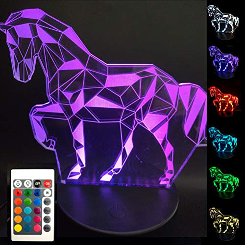 Light Horse - BJYHIYH Horse Lamp 16 Colors Changing Optical Illusion Lamp Remote Control Horse Night Lights for Kids Girls Boys Birthday Gifts