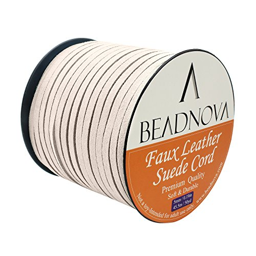 5 Mm Cream (BEADNOVA 5mm Cream White Flat Leather Lace Beading Thread Faux Suede Cord String Velvet 50 Yards Roll)