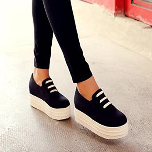 Summerwhisper Mujer's Round Toe Slip On Platform Zapatos De Lona Low Top Casual Loafers Sneakers Black