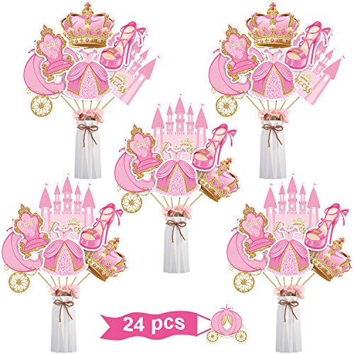 Blulu 24 Pieces Pink Castle Princess Party Decorations Pink and Gold Princess Crown Pumpkin Carriage Baby Shower or Birthday Party Centerpiece Sticks Table Toppers