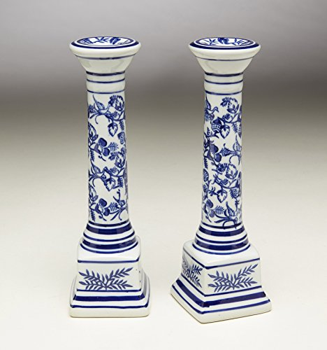 AA Importing Porcelain Candleholders 59807 Candlestick Pair 2 X 7 X 2 Inches (Vintage Porcelain Candle Holder)