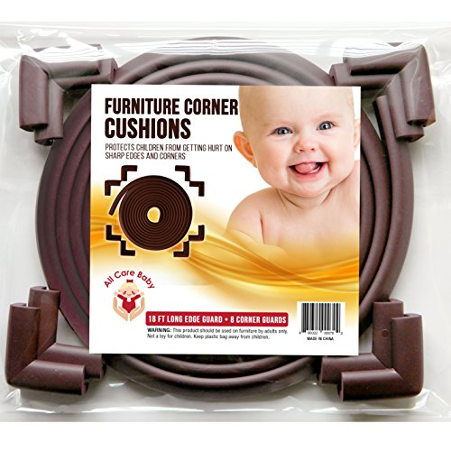 All Care Baby Corner Protector- Baby Proofing Furniture Bumpers For Safety From Desk, Table And Countertop Sharp Edges, Childproof 8 Pre-Taped Corner Cushion For Security (Brown) by All Care Baby (Image #2)