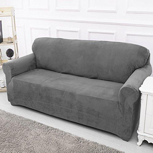 Sofabezug /Sofaschoner, elastischer Stoff, Grau, 2 seater:145-185cm