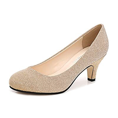OCHENTA Women's Closed Round Toe Low Kitten Heel Slip On Dress Pump