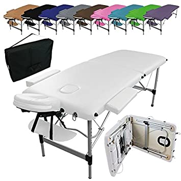 Linxor Folding Massage Table With 2 Areas In Aluminium Accessories And Carrying Case Nine Colours Ce Standard