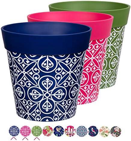 Hum – Set di 3 vasi da Fiori Multicolore Maroc, 22 x 22 cm