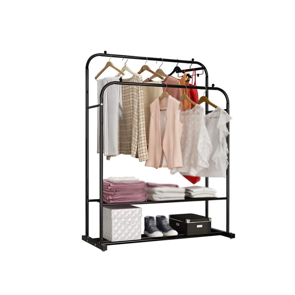 XSJZ 衣類ハンガー、家庭用屋内ハンガー屋外服ポールのための床ダブルバー折りたたみハンガー 衣類ハンガー (色 : B) B07Q844823 B