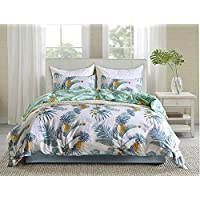 HoneiLife Microfiber Duvet Cover Set - Floral Boho Hotel Bedding Sets Comforter Cover Soft Lightweight Duvet Cover X 1 Pillowcases X 2, Pineapple -King