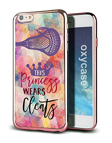 iPhone 8 / iPhone 7 Case Cover Lacrosse This Princess Wears Cleats Quote Athlete Designer Cute Funny Hipster Case With Rose Gold Electroplated TPU Soft Cover For Girls Fits iPhone 7