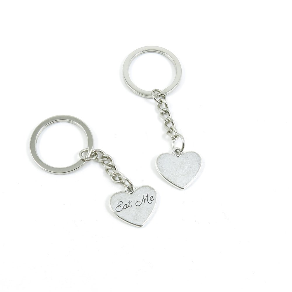 100 Pieces Keychain Door Car Key Chain Tags Keyring Ring Chain Keychain Supplies Antique Silver Tone Wholesale Bulk Lots V4LB8 Eat Me Love Heart