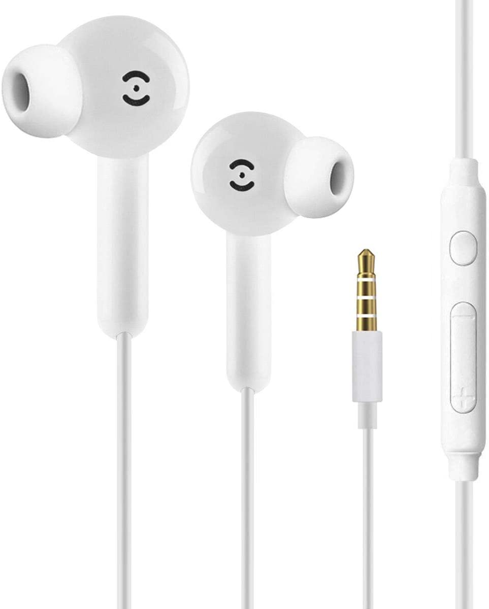 Earbuds/Earphones/Headphones, Premium in-Ear Wired Earphones with Remote & Mic Compatible with iPhone 6s/plus/6/5s/se/5c/iPad/Samsung (White)