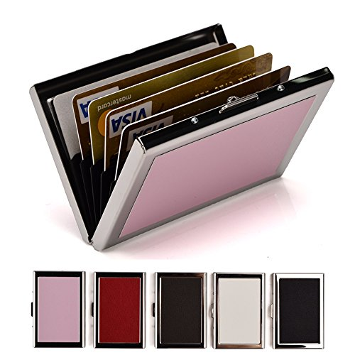 RFID Credit Card Holder Wallets for Women or Men, Slim Stainless Steel and PU Leather Credit Card Protector for Holding Debit ATM Card
