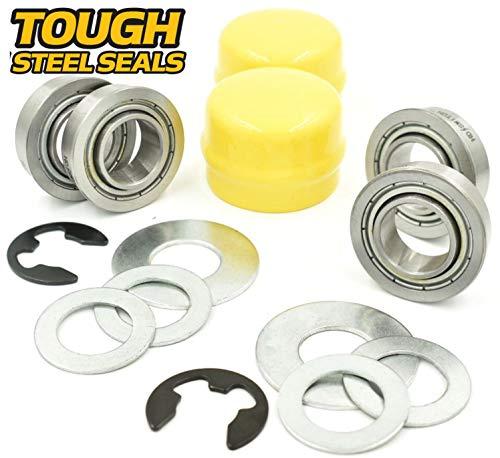 HD Switch (4 Pack) Front Wheel AM127303 & Axle Rebuild Kit Replaces John Deere AM127304, AM118315, AM35443, M40514, M123254, R27434, M143338 Tough Sealed Steel Seals ()