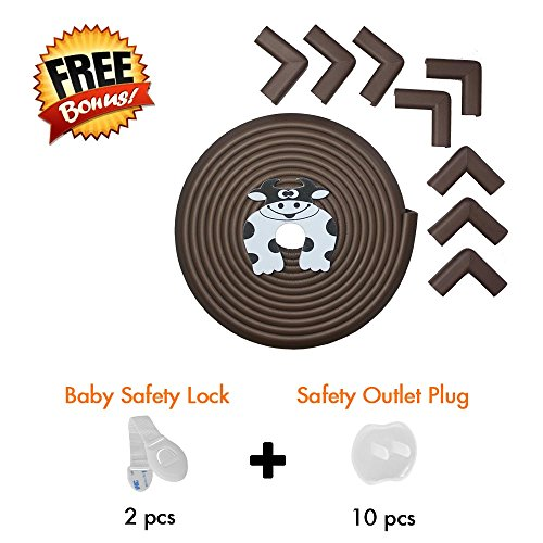 Edge Guard & Corner Protector - Extra Long 22.0ft [20.4ft Edge + 8 Corners] with Baby Proofing, Home Safety Furniture Bumper and Table Edge Guards Child Safety [Brown] by Hoobii (Image #6)