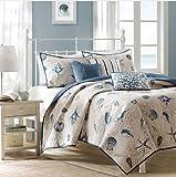 Seashell Beach House Nautical King Quilt, Shams & Toss Pillows (6 Piece Bedding)