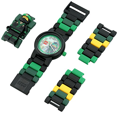 Boys Acrylic Watch (LEGO Ninjago Movie Lloyd Kids Minifigure Link Buildable Watch | green/black| plastic | 28mm case diameter| analog quartz | boy girl | official)