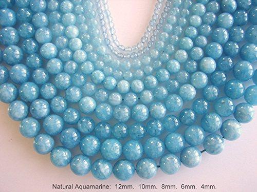 Aquamarine Beads Strand, Round Beads, Mineral Aquamarine Gemstone for Jewelry Making by BEEZZY BEEDZ (6mm, Aquamarine Light Blue)