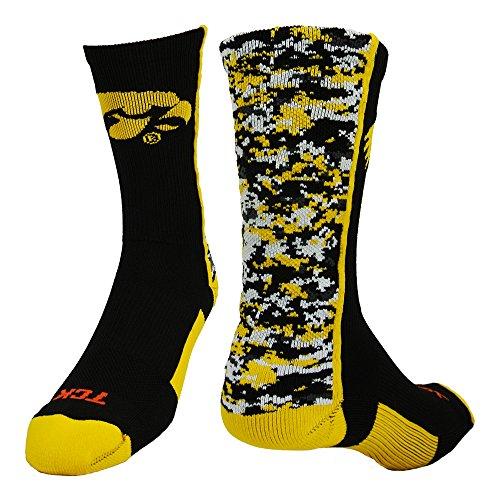- Iowa Digital Camo Crew Socks (Black/Gold/White, Medium)