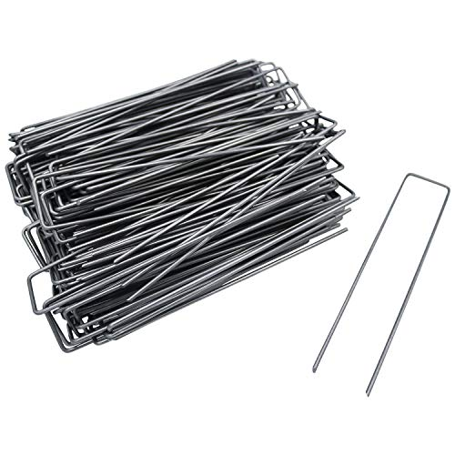 150 Pcs 6 Inch Garden Landscape Sod Staples Fence Stakes Pins - Anti-Rust Stakes with Plastic Gasket for Anchoring Weed Barrier Fabric Ground Cover Landscaping Tubing Garden Staples (150 PCS)