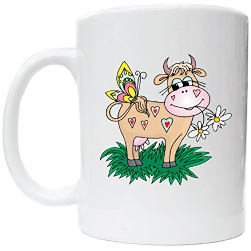 Awesome graphics cow with butterfly hearts mug