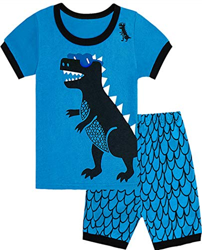 Tkala Boys Pajamas Children Clothes Set Dinosaur 100% Cotton Little Kids Pjs Sleepwear (12, 2-Dinosaur)]()