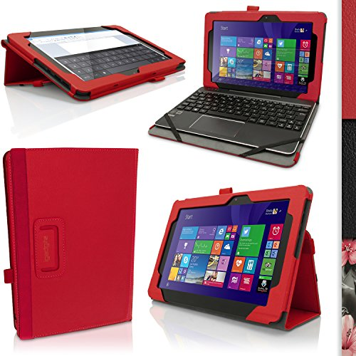 iGadgitz Premium Red PU Leather Folio Case Cover for Asus Transformer Book 10.1