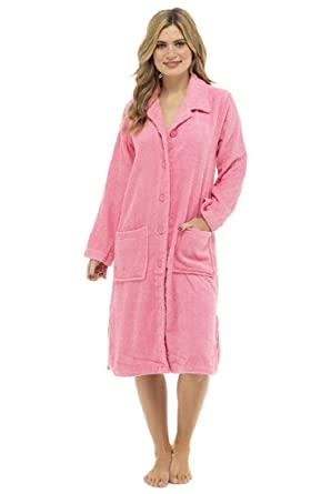 84f3679181 Amazon.com  Ladies Button Front Towelling Robe  Clothing