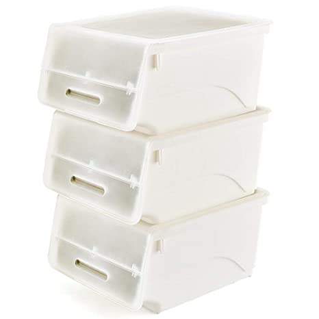 EZOWare 3 Pcs Cajas de Almacenaje Apilable de Plástico, Sistema de Ordenación Contenedores con Tapa