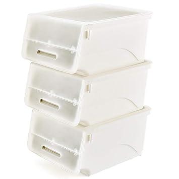 EZOWare 3 Pcs Cajas de Almacenaje Apilable de Plástico, Sistema de Ordenación Contenedores con Tapa para Cocina, Ropa, Juguetes, Armarios y Mas - Blanco y ...