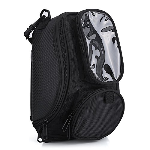 Universal Motorcycle Tank Bag Magnetic Backpack Strap Mount with Strong Magnetic, Motorbike Riding Oil Fuel Tank Bag Waterproof Oxford Saddle Black