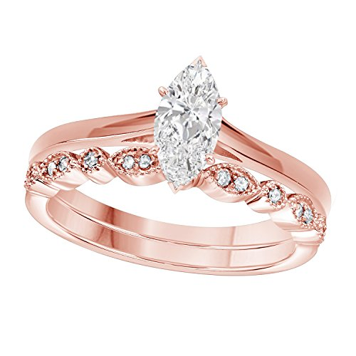 (Gems and Jewels 1.00 Ct Marquise Shape & Round Cut White CZ Diamond 14k Rose Gold Plated Art Deco Vintage Design Wedding Bridal Set Engagement Ring)