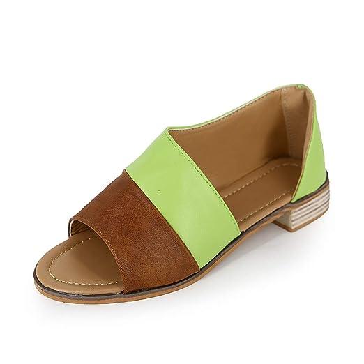 FJJLOVE Zapatillas de Punta Abierta para Mujer, Sandalias Planas ...