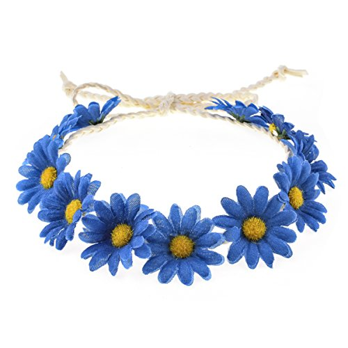 Flower Hat Band - Floral Fall Sunflower Crown Hair Wreath Bridal Headpiece Festivals Hair Band (Royal Blue)