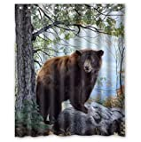 Prime Leader Fabric Shower Curtain It Bear Forest Nature Design Mildew Resistant Polyester Fabric Bathroom Set with Hooks,Animal Home Decor,48''x78''