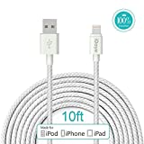 Apple Cable,Idaye®[Apple MFi Certified] 3M/10ft Nylon Braided Lightening to Charging Cord for iPhone 5 / 5s / 5c / 6 / 6 Plus/ 6s, iPod 7, iPad mini1/2/3, iPad Air / Air 2. (10ft-silver)
