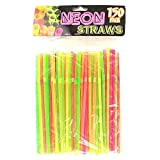 Kole HR012 Neon Party Bending Straws, Regular