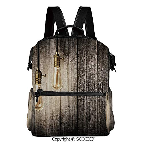 SCOCICI Personalized 3D Printed School Backpack,Historical Innovation Edison Revival Retro Electricity Wooden Planks Decorative,L11.4xW6.3xH15 Inches (Big Tent Revival The Best Thing)