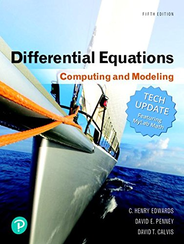 Differential Equations: Computing and Modeling (Tech Update) (5th Edition) (Differential Equations Computing And Modeling 5th Edition)
