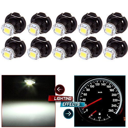cciyu 10X White T4/T4.2 Neo Wedge LED Climate Control Light Bulbs Replacement fit for 1998-2010 Honda Accord/Odyssey/Civic ()