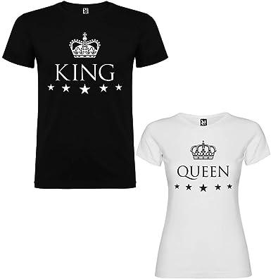 Pack de 2 Camisetas para Parejas King y Queen: Amazon.es: Ropa y ...