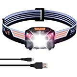 LED Headlamp, Tacklife LLH2A Rechargeable LED Head Torch, with induction modes LED Headlight, 6 Modes, White & Red LEDs, Water Resistant, USB Cable include for Running, Camping(Battery include)
