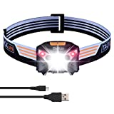 LED Headlamp, USB Rechargeable Headlight, Hand-Wave Control, 6 Light Modes in Red & White, Waterproof, Ultra-Lightweight, Adjustable Angle, ideal for Running, Hiking, Camping. LLH2A