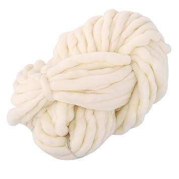 8ed574007c42 Yunt 250g Pelote de Grosse Laine Fils a Tricoter pour Echarpe Bonnet (Blanc  Laitier)