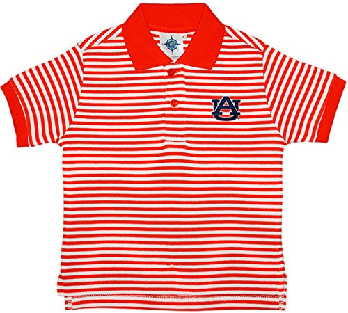 Tiger Striped Polo Shirt - University of Auburn Tigers Striped Polo Shirt by Creative Knitwear, Orange/White, 2T