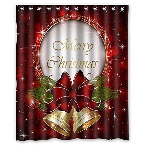 CHICHIC 71 Inch x 71 Inch Christmas Shower Curtain Liner Window Curtains 100% Waterproof Polyster for Christmas Decorations Xmas Theme Decor Props Bathroom, Bell