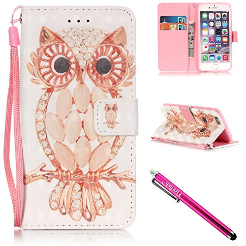 iPhone 5S Case, iPhone 5 Wallet Case, Firefish Kickstand Flip [Card Slots] Wallet Cover Double Layer Bumper Shell with Magnetic Closure Strap Case for Apple iPhone 5/5S/SE-Owl (4th Generation Ipod Cover)