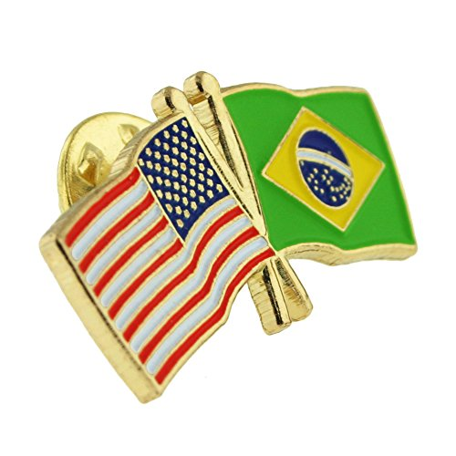 PinMart's USA and Brazil Crossed Friendship Flag Enamel Lapel Pin by PinMart (Image #1)